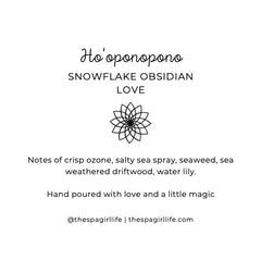 Ho'oponopono - Love Candle with Two Snowflake Obsidian Crystals - The Spa Girl Life