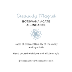 Creativity Magnet - Abundance Candle with Two Botswana Agate Crystals - The Spa Girl Life