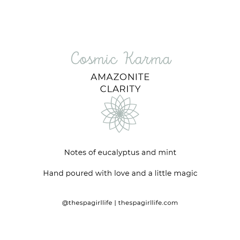 Cosmic Karma - Clarity Candle with Two Amazonite Crystals - The Spa Girl Life