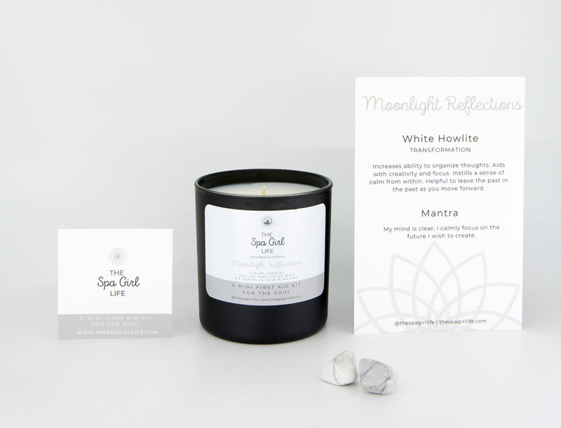 Moonlight Reflections - Transformation Candle with Two White Howlite Crystals - The Spa Girl Life