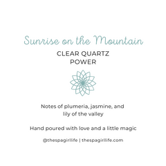 Sunrise on the Mountain - Power Candle with Two Clear Quartz Cystals - The Spa Girl Life