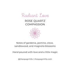 Radiant Love - Compassion Candle with Two Rose Quartz Crystals - The Spa Girl Life