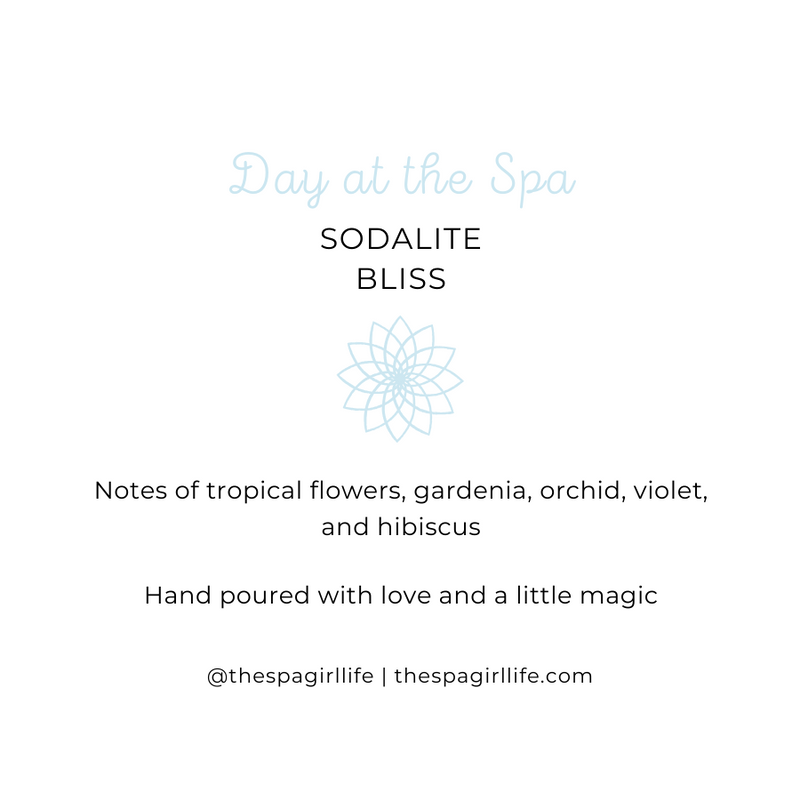 Day at the Spa - Bliss Candle with Two Sodalite Crystals - The Spa Girl Life