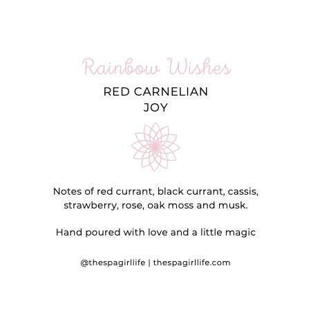 Rainbow Wishes - Joy Candle with Two Red Carnelian Crystals - The Spa Girl Life