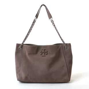 "Primary Photo - BRAND: TORY BURCH STYLE: HANDBAG DESIGNER COLOR: BROWN SIZE: LARGE OTHER INFO: MCGRAW SUEDE TOTE SKU: 293-29311-3148614""W X 10""H X 6""DCONDITION IS VERY GOOD. SLIGHT SMUDGE ON THE BACKSIDE, PLEASE SEE PHOTO FOR DETAILS"