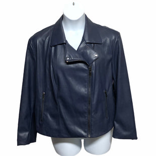 Primary Photo - BRAND:    CLOTHES MENTOR STYLE: JACKET OUTDOOR COLOR: NAVY SIZE: 3X OTHER INFO: MARYBELLE - IMITATION LEATHER SKU: 293-29312-33780