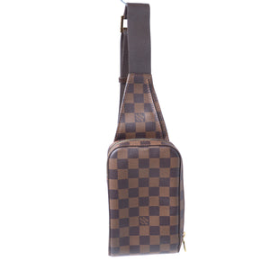 Primary Photo - BRAND: LOUIS VUITTON STYLE: HANDBAG DESIGNER COLOR: BROWN SIZE: SMALL OTHER INFO: DAMIER EBENE GERONIMOS SKU: 293-29312-33107
