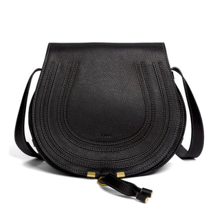 "Primary Photo - BRAND: CHLOE STYLE: HANDBAG DESIGNER COLOR: BLACK SIZE: MEDIUM OTHER INFO: MARCIE SKU: 293-29312-2694112""W X 10.5""H X 4.25""DCONDITION:  EXCELLENT WITH NO VISIBLE SIGNS OF WEAR PEBBLES CALFSKIN LEATHER; BRASS HARDWARE"