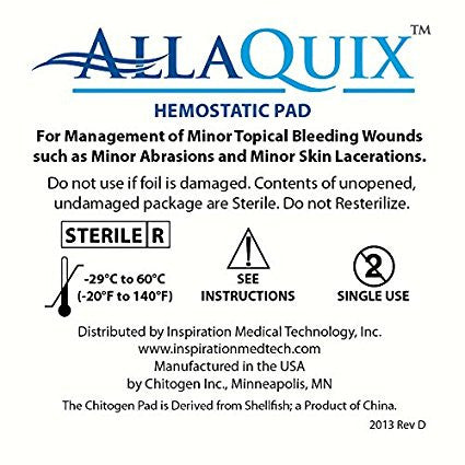 "AllaQuix Stop Bleeding Gauze (SMALL 1"" x 1"")"