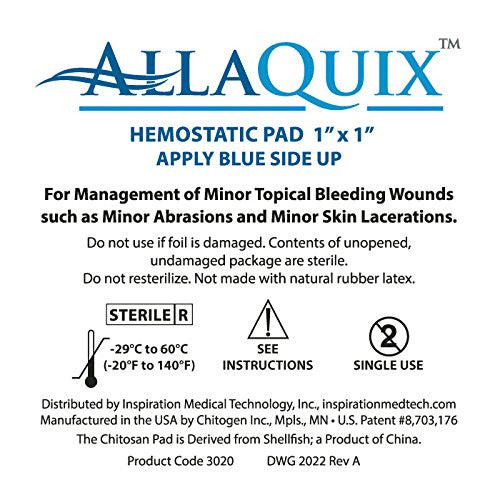 "AllaQuix Stop Bleeding Gauze (SMALL 1"" x 1"") (Pack of 3)"