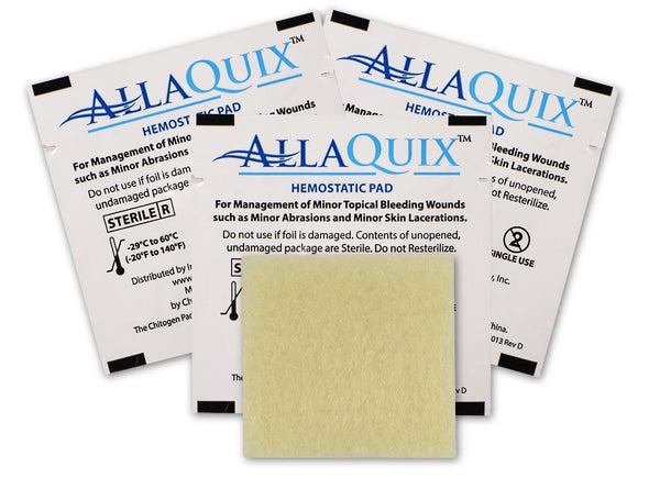 "AllaQuix Stop Bleeding Gauze (SMALL 1"" x 1"") (Pack of 3) - AllaQuix™ - Stop Bleeding Quick Like the Pros!"