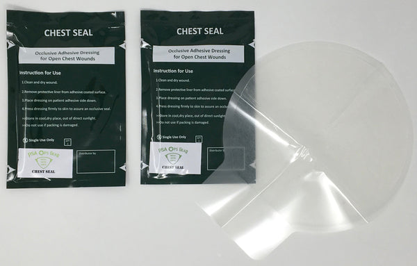 Chest Seal (Twin-Pack) Un-Vented - AllaQuix™ - Stop Bleeding Quick Like the Pros!