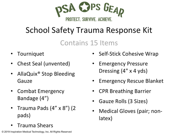School Safety Trauma Response Kit - AllaQuix™ - Stop Bleeding Quick Like the Pros!
