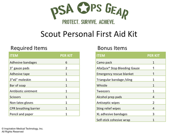 Scout Personal First-Aid Kit PLUS - AllaQuix™ - Stop Bleeding Quick Like the Pros!