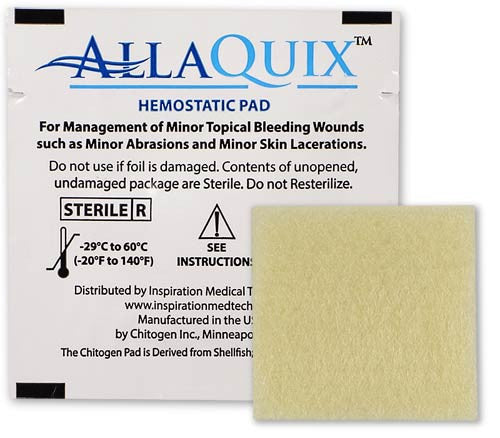 "HTC - AllaQuix Stop Bleeding Gauze (LARGE 2"" x 2"") - 1-Pack - AllaQuix™ - Stop Bleeding Quick Like the Pros!"