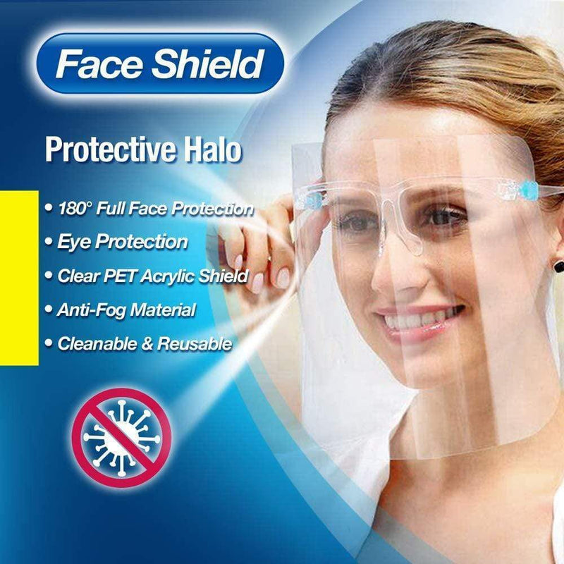 UVClean Health Protective Face Shield, Fully Transparent (5pcs set) Best UVC Sanitizer Sterilizer PPE UV-C Kills Germs Viruses Bacteria Mold