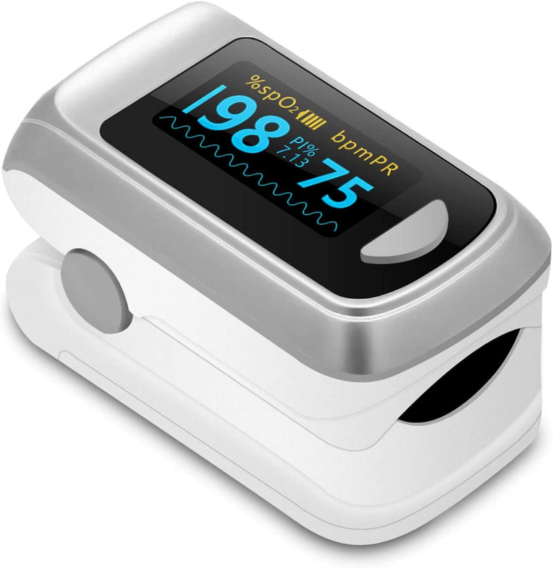 UVClean Health White Fingertip Pulse Oximeter & Blood Oxygen Saturation Monitor Best UVC Sanitizer Sterilizer PPE UV-C Kills Germs Viruses Bacteria Mold