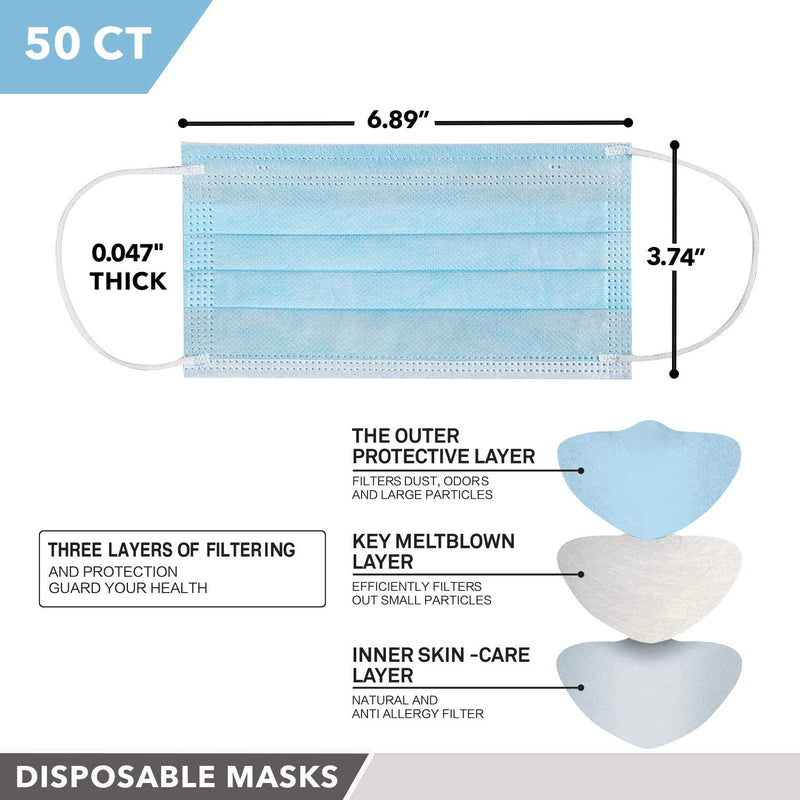 UVCleanHealth 3 Ply Face Mask (50 pcs) - FDA Registered Best UVC Sanitizer Sterilizer PPE UV-C Kills Germs Viruses Bacteria Mold