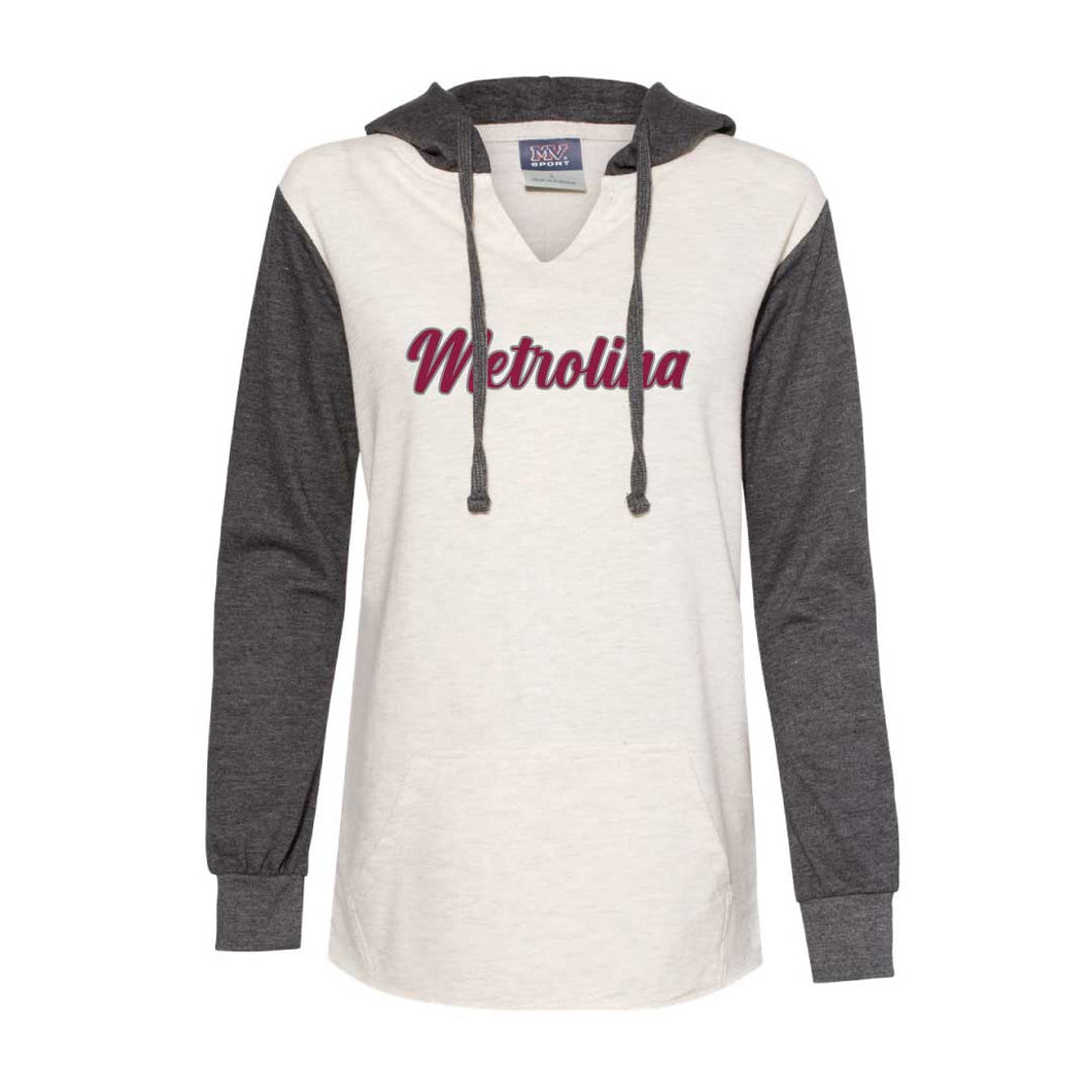 Metrolina Script Embroidered -  Women's French Terry Hooded Pullover (Ladies)