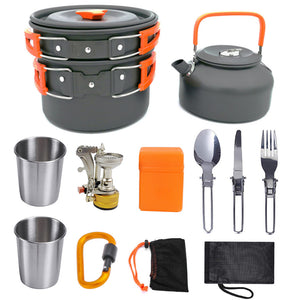 New Outdoor Jacketed Kettle Stove Teapot with Cup Combination Portable Camping Cookware Stove Equipment