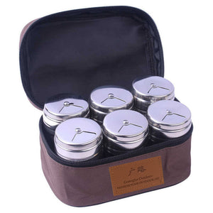 Cross-Border New Spice Jar Outdoor Barbecue Seasoning Jar Set Stainless Steel Portable Kitchen Spice Bottle Seasoning Containers