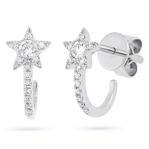 Shy Creation 14 kt White Gold Star Earrings with Diamonds