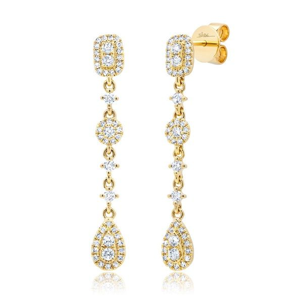 Shy Creation 14 kt Yellow Gold Diamond Dangle Earrings
