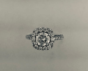 Lady's 14K White Gold Cushion-Shaped Halo Diamond Engagement Ring