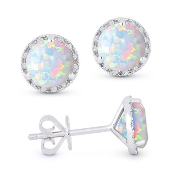 Madison L 14K White Gold Opal & Diamond Stud Earrings