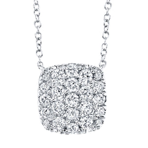 "Shy Creation 14 kt White Gold 18"" Pave Necklace with Diamonds"