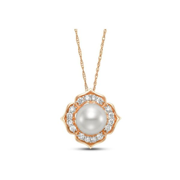Lady's 14K Rose Gold Pearl & Diamond Necklace with 18