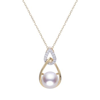 Lady's 14K Yellow Gold Pearl & Diamond Wrap Pendant with 18