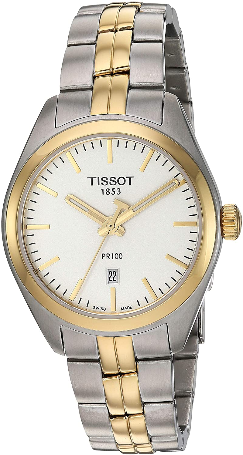 Tissot Two-Tone Ladies PR100 Watch with Mother of Pearl Dial