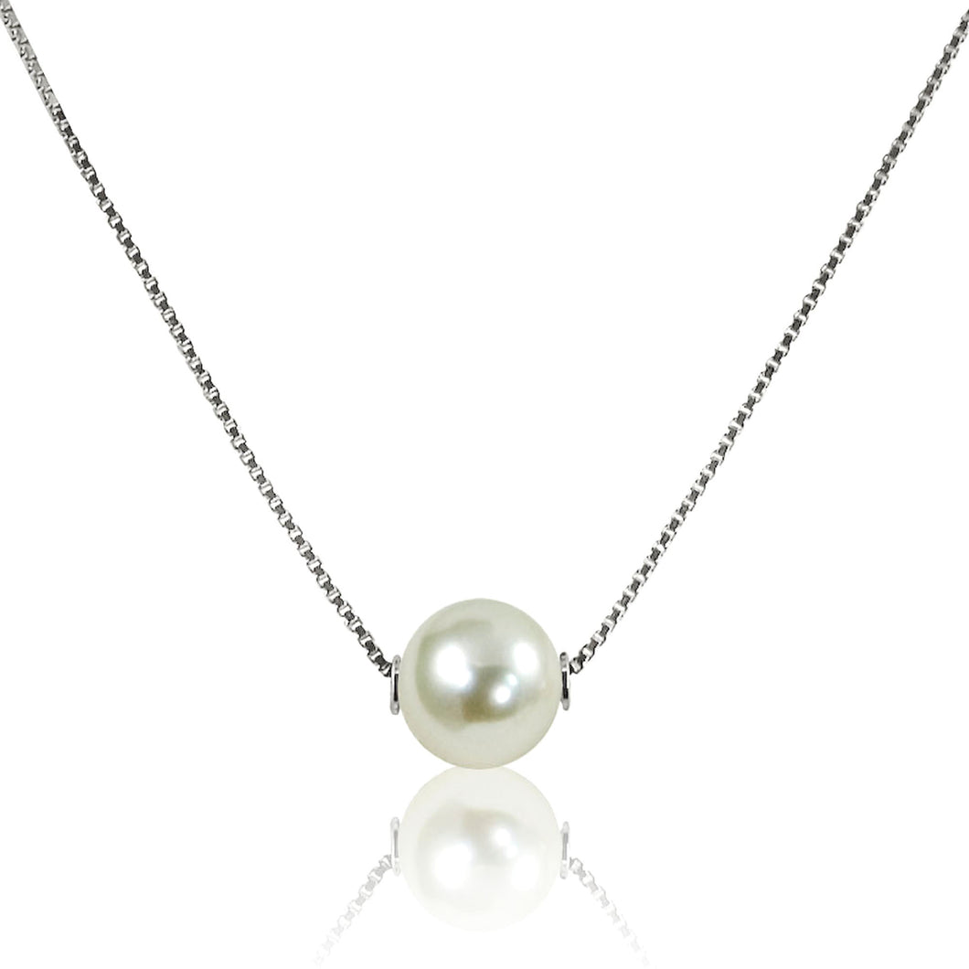 Lady's 14K White Gold Pearl 17