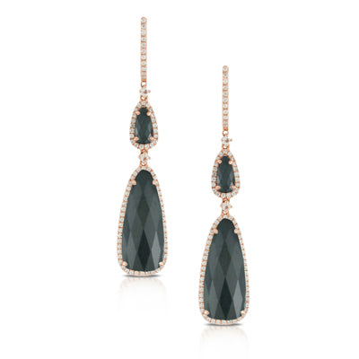 Dove's Rose 18 kt Gold Dangle Earrings with Hematite, Clear Quartz, and Diamonds