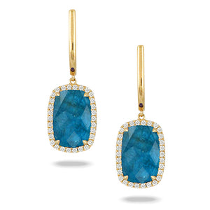 Dove's Yellow 18 kt Gold Dangle Earrings with Apatite, Clear Quartz, and Diamonds