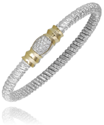 Alwand Vahan Sterling Silver, 14 kt Gold, and Diamond Bangle Bracelet