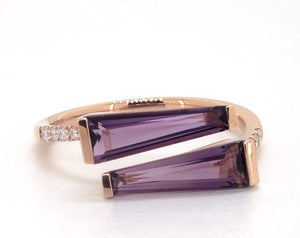 Brevani 14K Rose Gold Amethyst & Diamond Ring