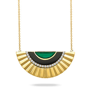 "Dove's Yellow 18 kt Gold Satin 17.5"" Necklace with Malachite, Onyx, and Diamonds"