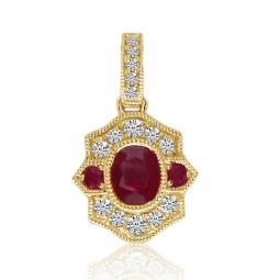 Brevani 14K Yellow Gold Ruby & Diamond Pendant with 18