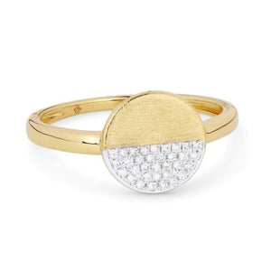Madison L 14K Yellow Gold Polished & Satin Diamond Ring
