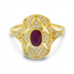 Brevani 14K Yellow Gold Art Deco Ruby & Diamond Ring