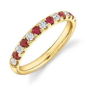 Shy Creation 14 kt Yellow Gold Ruby & Diamond Band Ring