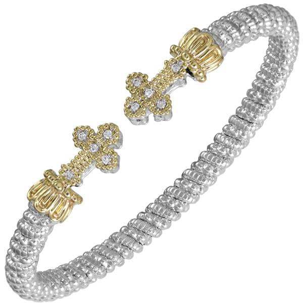 Alwand Vahan: Sterling SIlver and 14k Gold and Diamond Bangle