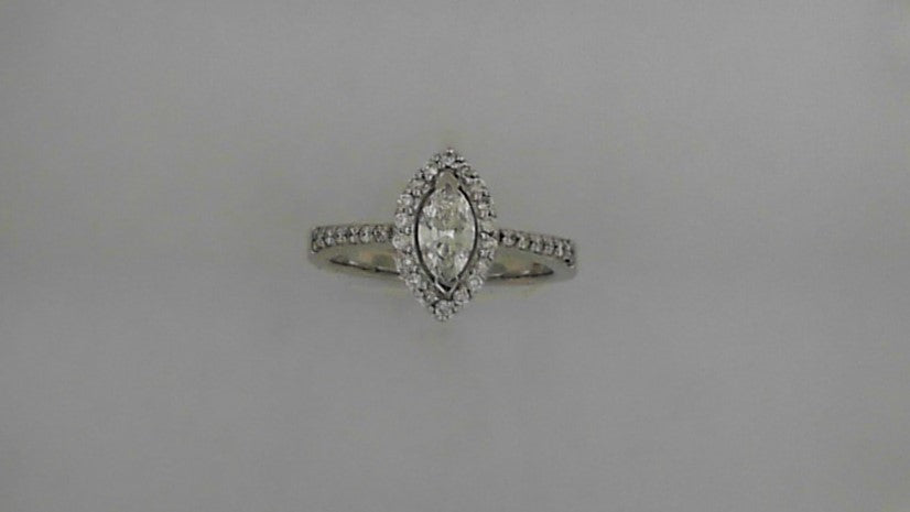 Lady's 14K White Gold Halo Marquise and Round Diamond Engagement Ring