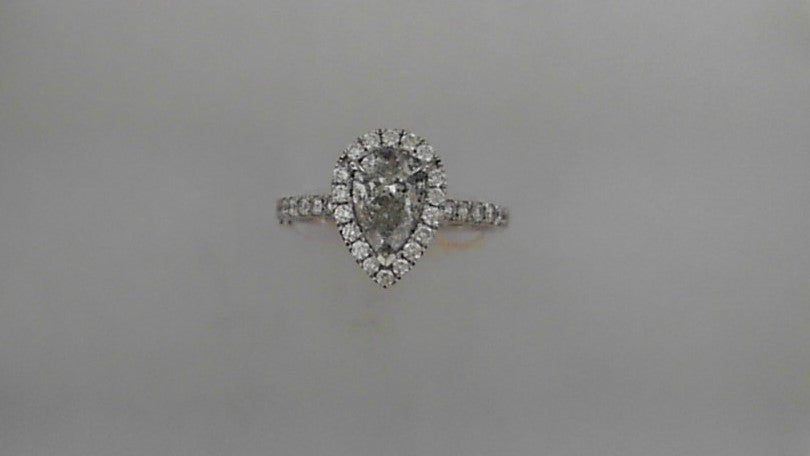 Lady's 14K White Gold Halo Pear & Round Diamond Engagement Ring