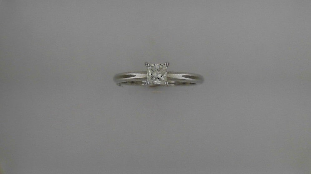 Lady's 14K White Gold Princess Cut Solitaire Diamond Engagement Ring