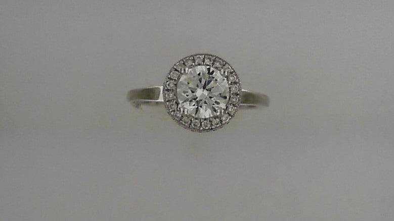 Lady's 18K White Diamond Gold Engagement Ring Mounting