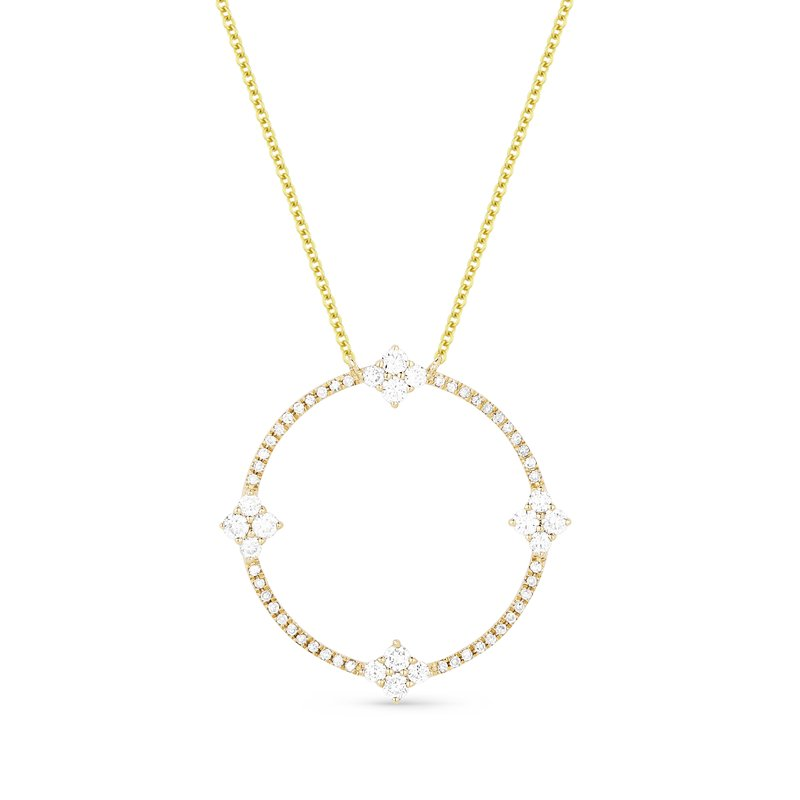 Madison L 14K Yellow Gold Diamond Circle Necklace with 18