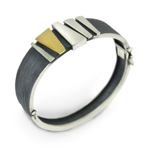 Audar Black/Gold/Silver Bangle Bracelet